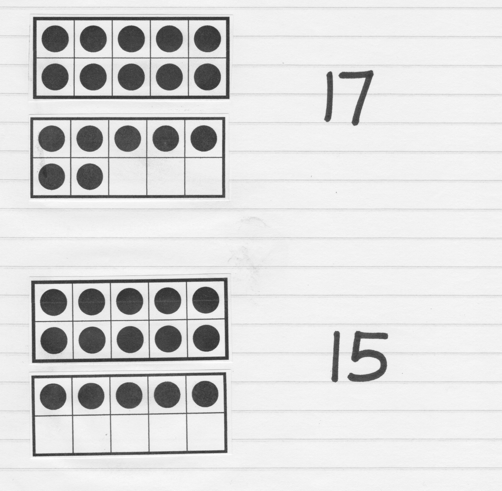 write a few numbers for your child and have them build the number by glueing the ten frame cards in their workbook to show the number
